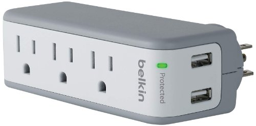 Belkin SurgePlus USB Swivel Surge Protector and Charger (Power strip with 3 AC Outlets, 2 USB Ports 2.1 AMP/10 Watt) and rotating plug Portable Power Strip