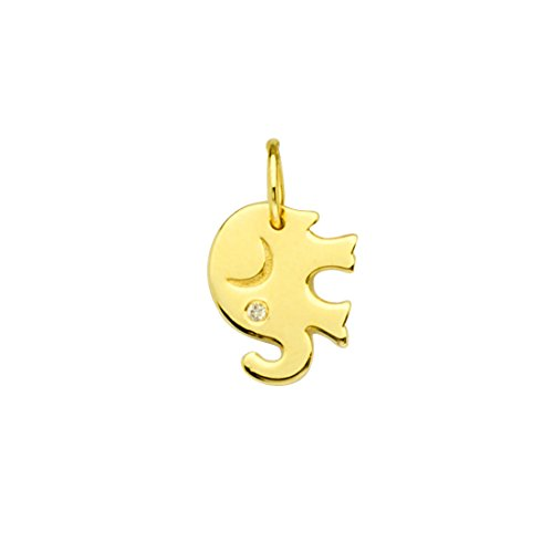14k Yellow Gold Elephant Charm with Genuine Diamond Accent