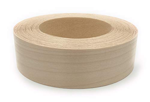 "Edge Supply Birch 1-1/2″ X 50"" Roll, Wood Veneer Edge Banding Preglued, Iron on with Hot Melt Adhesive, Flexible Wood Tape Sanded to Perfection. Easy Application, Made in USA"
