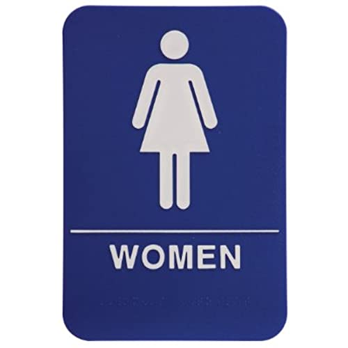 rock ridge womens restroom sign blue with white plastic - Womens Bathroom Sign