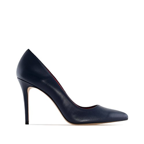 Andres Machado.Diana.Heeled Shoes In Suede/Nappa Leather.Made In Spain.Womens Petite&Large Szs:US 2 To 5 -US 10.5 To 13/EU 32 To 35 -EU 42 To 45 Navy Nappa Leather M350h