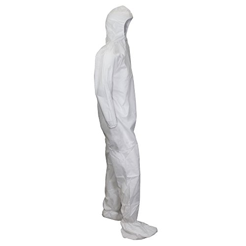 Kimberly-Clark KleenGuard A10 Polypropylene Light Duty Disposable Coverall Case of 25 White Size 2XL Elastic Wrist
