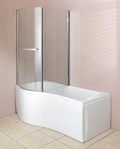 White 1700 X 700 905 5mm Acrylic P Shaped Shower Bath