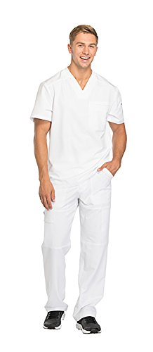 - Dickies Dynamix Men's Stretch V-Neck Top DK610 & Men's Zip Fly Elastic Waist Drawstring Cargo Pant DK110 Scrub Set (White - X-Large/Large)