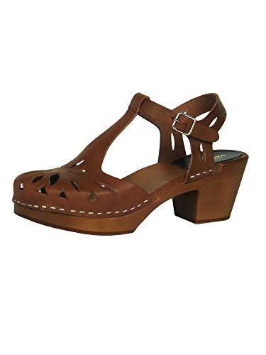 swedish hasbeens Women's Lacy Sandal - 8.5M - Cognac