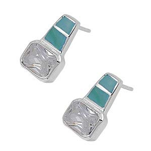 Jewelry Gift Blue//Green /& Clear CZ Glitzs Jewels 925 Sterling Silver Earrings with Stone