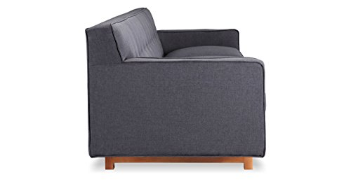 Kardiel Kennedy Mid-Century Modern Classic Sofa, Urban Ink Vintage Twill - Brand: KARDIEL; Style: Kennedy 3 Seat Sofa. Inspired by comfortable modernism; Frame: Traditional hardwood box frame construction; Seat Platform: Reinforced bottom seat cushion platform for firm longer lasting support Foam Type: Durable multi-density foam; Seat Cushion: Down Feather filled cushions, Reversible cushions; Seat Cushion Style: Fitted removable seat cushions; Cushion feature: Zippered seat cushions Fabric Type: Vintage Tailored Twill: 60% Linen, 20% Cotton, 20% Nylon; Back style: Full width affixed solid back; Stitch Edge Type: Piping in vintage twill cotton blend - sofas-couches, living-room-furniture, living-room - 31yEqJayBKL -