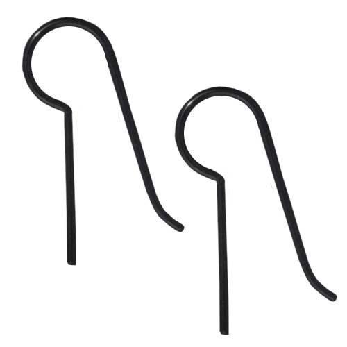 (TierraCast Hypo-Allergenic Niobium Ear Wire Blank, Black, 4-Pair)