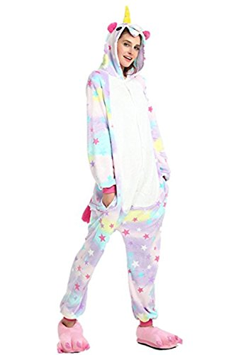 Halloween Pajamas Unicorn OnePiece Onesie Cosplay Costumes Animal Outfit Loungewear, Star, Size L for 66-70