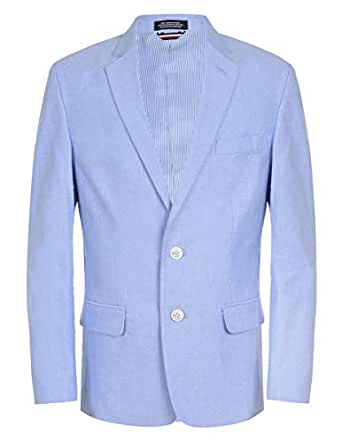 TOMMY HILFIGER Boys' Big Suit Jacket, Powder Blue, 10