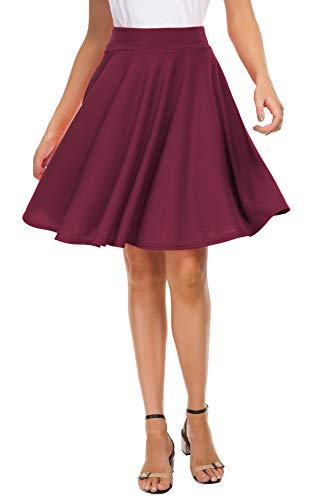 EXCHIC Women's Basic Skirt A-Line Midi Dress Casual Stretchy Skater Skirt (XL, Wine Red)