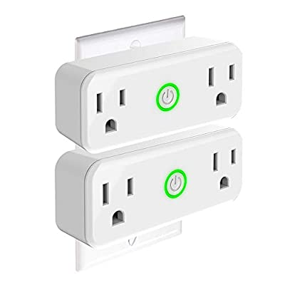 DOGAIN Wifi Smart Outlet Plug with dual socket working individually,compatible with Alexa/Google Home/IFTTT,Remote and voice control socket with WiFi,no hub required
