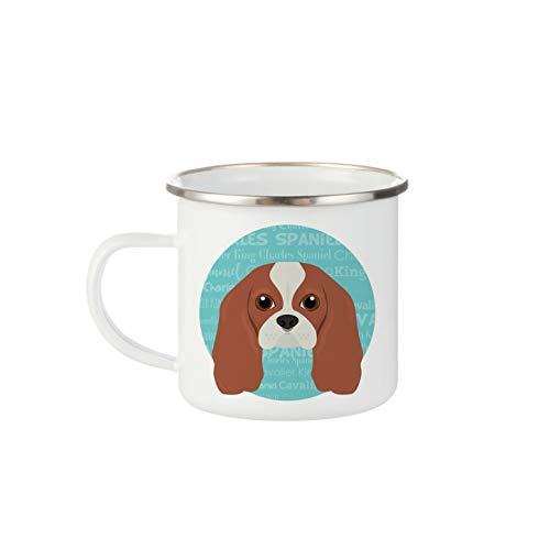 Mystic Sloth Adorable Dog Breed Specific 12oz White Enamel Camp Mug (Cavalier King Charles Spaniel)