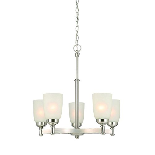 Hampton Bay 5-Light Brushed Nickel Chandelier with Frosted Glass Shades ()