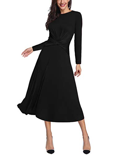 my Control Dress Round Neck Long Sleeve Midi Semiformal Casual Party Fit Flare Maxi Dress Black ()