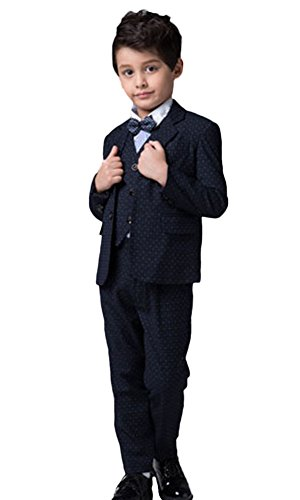 ICEGREY Boys' Boys Formal Dress Suit Set With Vest Suits, Bow Tie Blue 5-6 Years by ICEGREY