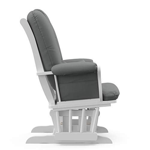 31yEwhONnuL - Storkcraft Tuscany Custom Glider And Ottoman With Lumbar Pillow, White/Grey