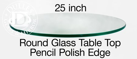 TroySys 25RD10MMPETEM Round Tempered Glass Table Top, 25 inch