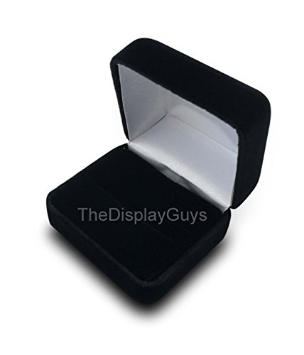 The Display Guys Deluxe Black Velvet Metal 2 Rings Gift Box, Jewelry Presentation Display Metal Hinge, Comes With White Two Piece Packer (2 3/8x2x1 1/2 Inches) (Box Jeweley)