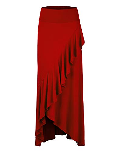 LL Womens Wrapped High Low Ruffle Maxi Skirt M RED