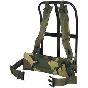 Black/Woodland Camouflage LC-1 ALICE Field Pack Frame – Fits Medium and Large A.L.I.C.E. Packs, Outdoor Stuffs