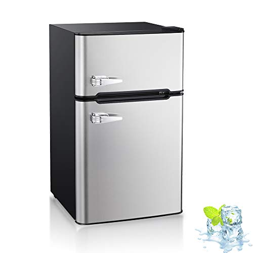 Kismile Double Door 3.2 Cu.ft Compact Refrigerator and Freezer, Freestanding mini Fridge with Adjustable Temperature, Removable glass shelves,Upright Freezer for Apartment,Dorm,Office or Home