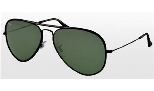 Authentic Ray Ban Sunglasses - Ray Ban RB3025JM Aviator Sunglasses-002 Black (Crystal Green Lens)-58mm