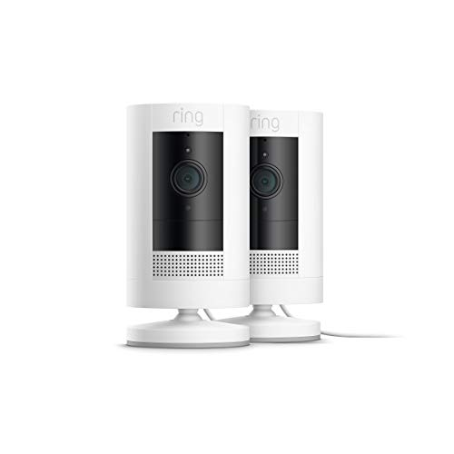 Ring Stick Up Cam Plug-In HD security camera with two-way talk, Works with Alexa – 2-Pack