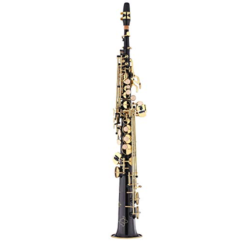 - Kaizer Soprano Saxophone Straight B Flat Bb Black Lacquer Gold Keys SSAX-1000BKGK
