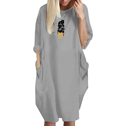 Womens Pocket Loose Dress Crew Neck Casual Long Tops Plus Size Dress t Shirt Dress ()