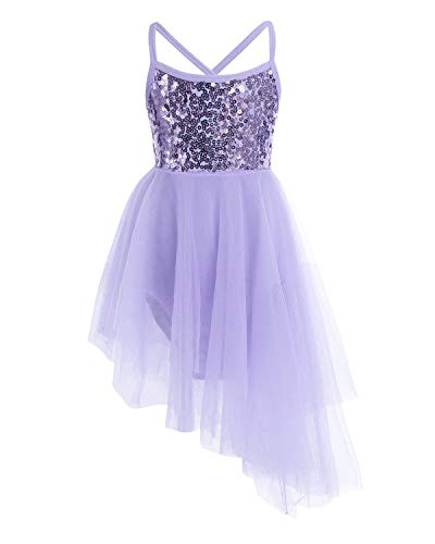 FEESHOW Girls Sequined Camisole Ballet Dress Leotard Chiffon Skirt Sparkly Fairy Dance wear Costumes Hi-lo Purple 7-8 -