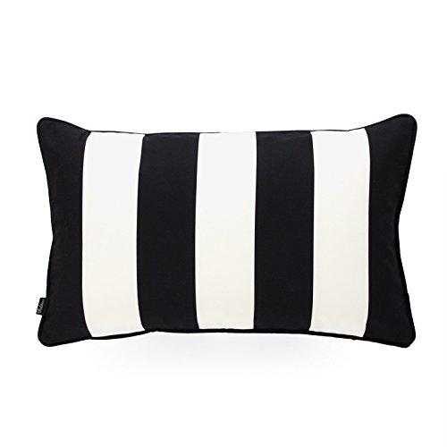 Hofdeco Decorative Lumbar Pillow Cover Indoor Outdoor Water Resistant Canvas Modern Black Stripes -