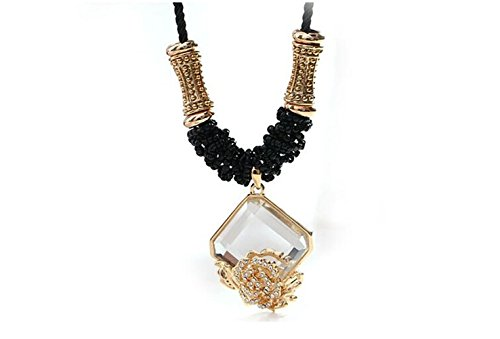 Adorable Woman Rose Europe Retro Crystal Chain Sweater Long Necklace&Pendent