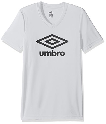 Umbro Girls Logo Climate Short Sleeve Tee, White/Black, -