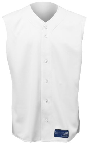 Mizuno Boy's Full Button Sleeveless Baseball Jersey, White, (Mizuno Full Button Sleeveless)
