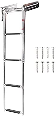 Yctze Boat Ladder, 4?Step Deck Ladder Folding Telescopic Boat Stair Pedal Removable 316 Stainless Steel W/Reta