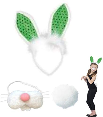 Easter Bunny Costume- Sequin Bunny Ears, Pink Nose with Whiskers and Teeth and Cotton Tail -