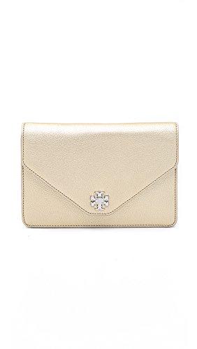 Tory Burch Women's Kira Metallic Clutch, Light Gold, One Size (Kira Handbag Tory Burch)