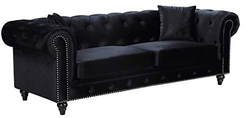 Meridian Furniture 662BL-S Chesterfield Sofa, Black