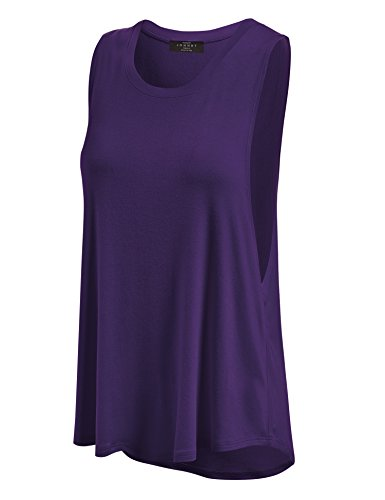 Made By Johnny WT902 Womens Basic Loose Fit Tank Top S Dark_Purple