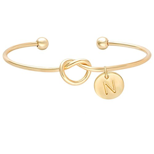 Tie the Knot Single Initial Alphabet Letters Personalized Charms Bracelet Gift For Women Girl Sister Mother Friends (Gold, N)