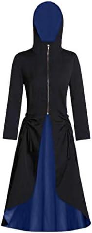 DONTAL Women Vintage Hooded Zip Front Color Block Ruched Back Bandages Party Long Coat Overcoat