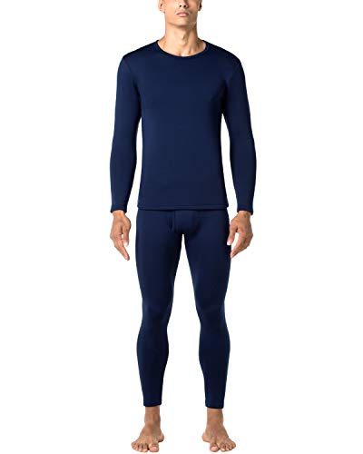 LAPASA Men's Heavyweight Thermal Underwear Long John Set Fleece Lined Base Layer Top and Bottom M24 Navy ()