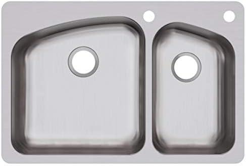 Elkay DPXSR2250R2R Dayton 60 40 Double Bowl Dual Mount Stainless Steel Sink