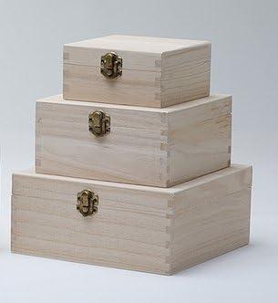 Juego de 3 cajas de madera Rectangular con motivo - caja de ...
