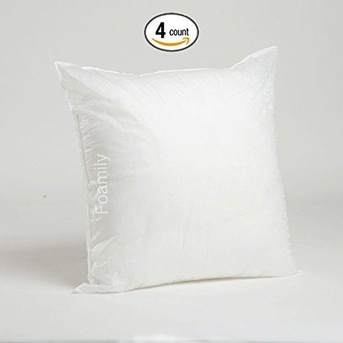 Foamily Set of 4 Premium Hypoallergenic Stuffer Pillow Insert Sham Square Form Polyester, 20