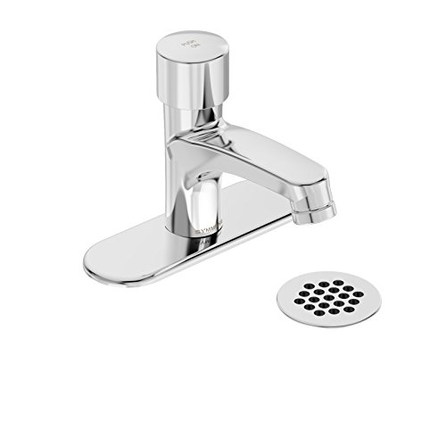 Symmons SLS-7000-DP4-G SCOT Metering Lavatory Faucet with 4 in. Deck Plate and Grid Drain in Polished Chrome (0.5 GPM)