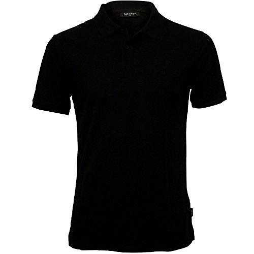 Calvin Klein Men's Jacob Refined Pique Chest Logo Polo Shirt, Perfect Black Large Perfect Black