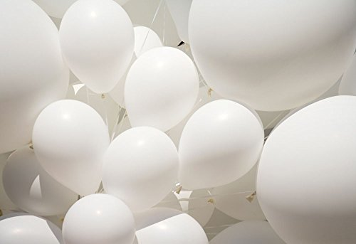 Lumeey White Latex Balloons 100pcs/lot 10 inch 1.8g Premium Thicken Balloon Wedding Party Activity Campaign Events Celebrations Promotions Balloons (White Glow In The Dark Balloons)