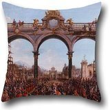 Oil Painting Francesco Battaglioli - Didone Abbandonata (Acto I, Escena V) Pillow Covers 18 X 18 Inches / 45 By 45 Cm For Coffee House,teens Boys,deck Chair,him,bench,gf With Double Sides